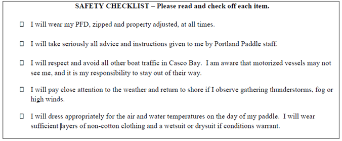 The checklist that every Portland Paddle rent