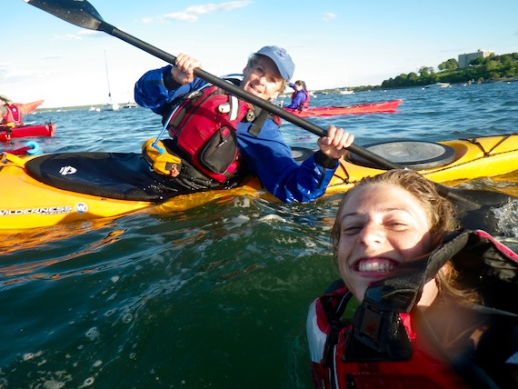 Suzanne rescues a Portland Paddle staffer during a staff rescue training session.