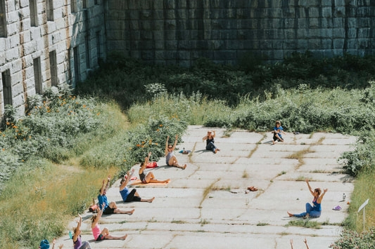 Yoga in Fort Gorges in Portland, Maine