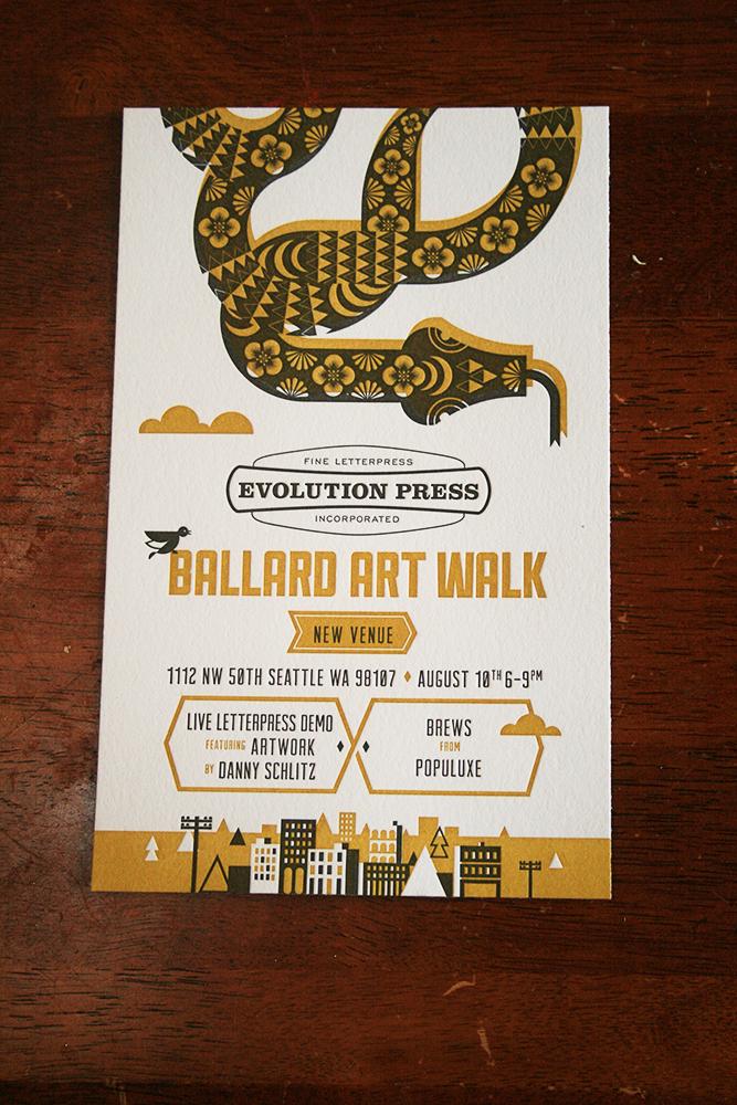 Letter press invite for Art Walk in Ballard.