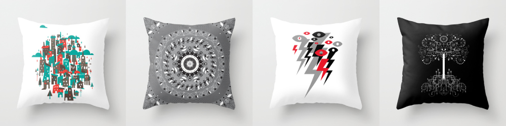 These pillows belong on your couch.  Via Society6.
