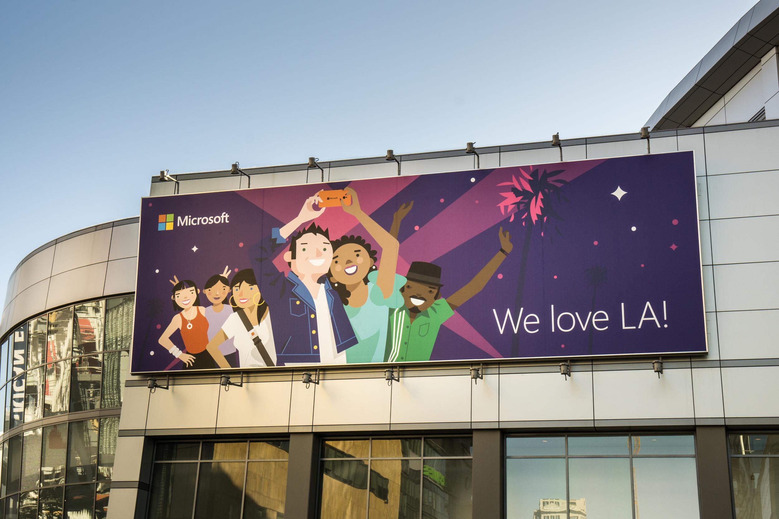 "On location at the LA Live center. ""We love LA!"" Billboard - Photo by Lou Zumek"