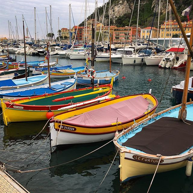 Some very painterly fishing boats in port @ #Nice - lovely burst of colour for #Easter weekend... Bonnes fêtes de Pâques!  #boats #colourful #port #fishing #traditional #France