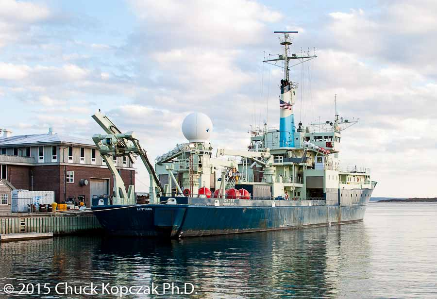 The Research Vessel (R/V) Knorr, operated by Woods Hole Oceanographic Institution, sits at the dock at Woods Hole, Massachusetts between cruises.