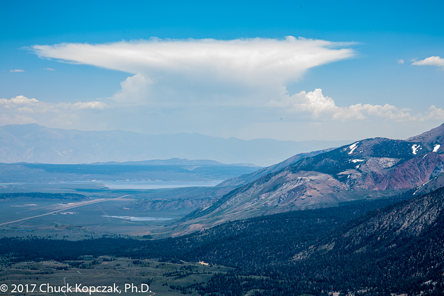 Developing thunderhead over the Owens Valley from Mammoth Mountain