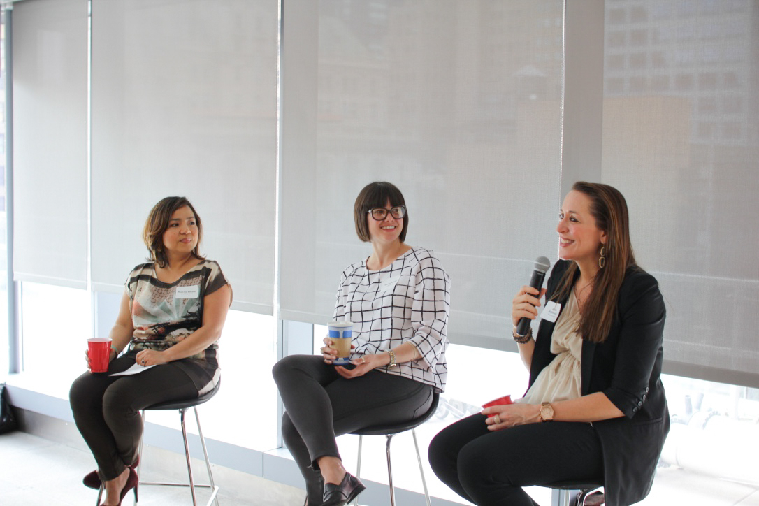Aisling McDonagh takes the mic, while panelists Marcela Tabares and Sherry Adams listen.