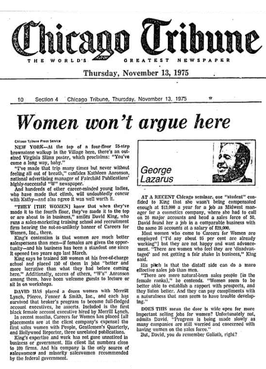 An article published by George Lazarus in the Chicago Tribune, 1975
