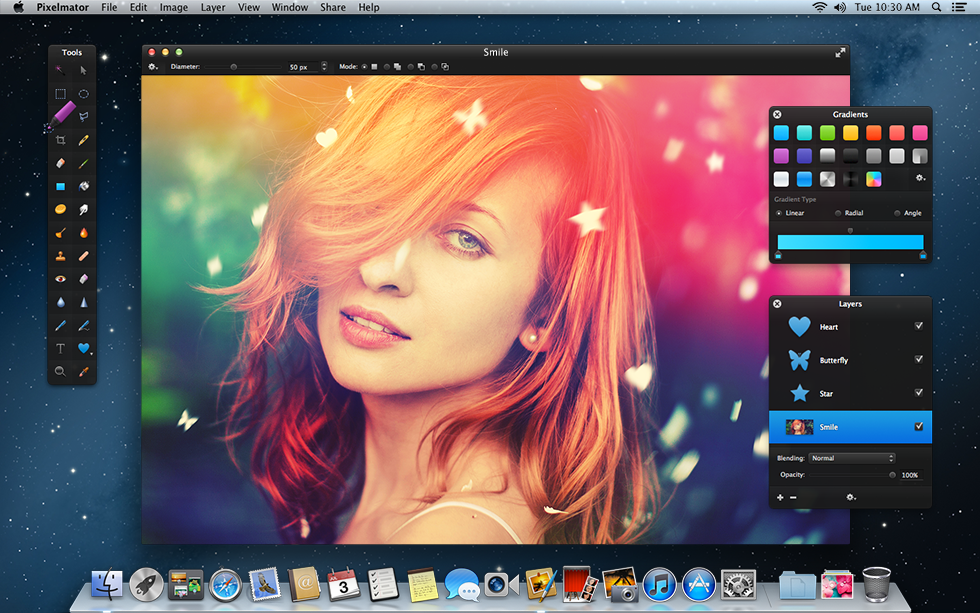 The Pixelmator interface is easy to look at