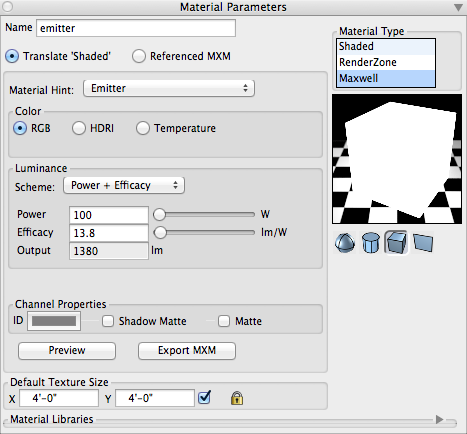 FormZ's Materials Palette showing the Emitter material settings.