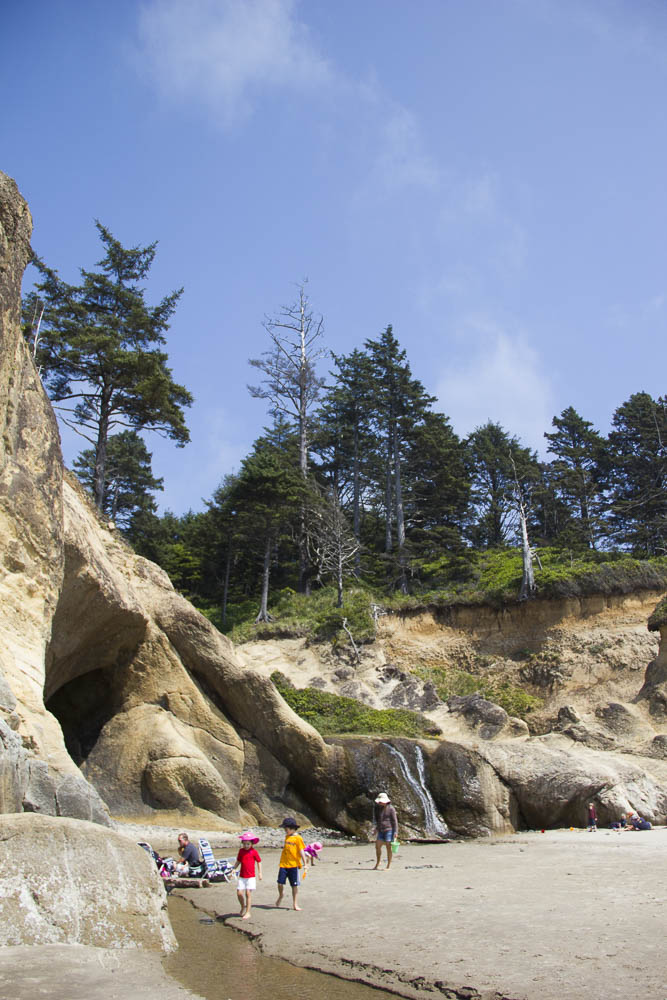 A summer day at Hug Point State Park on the Oregon Coast.