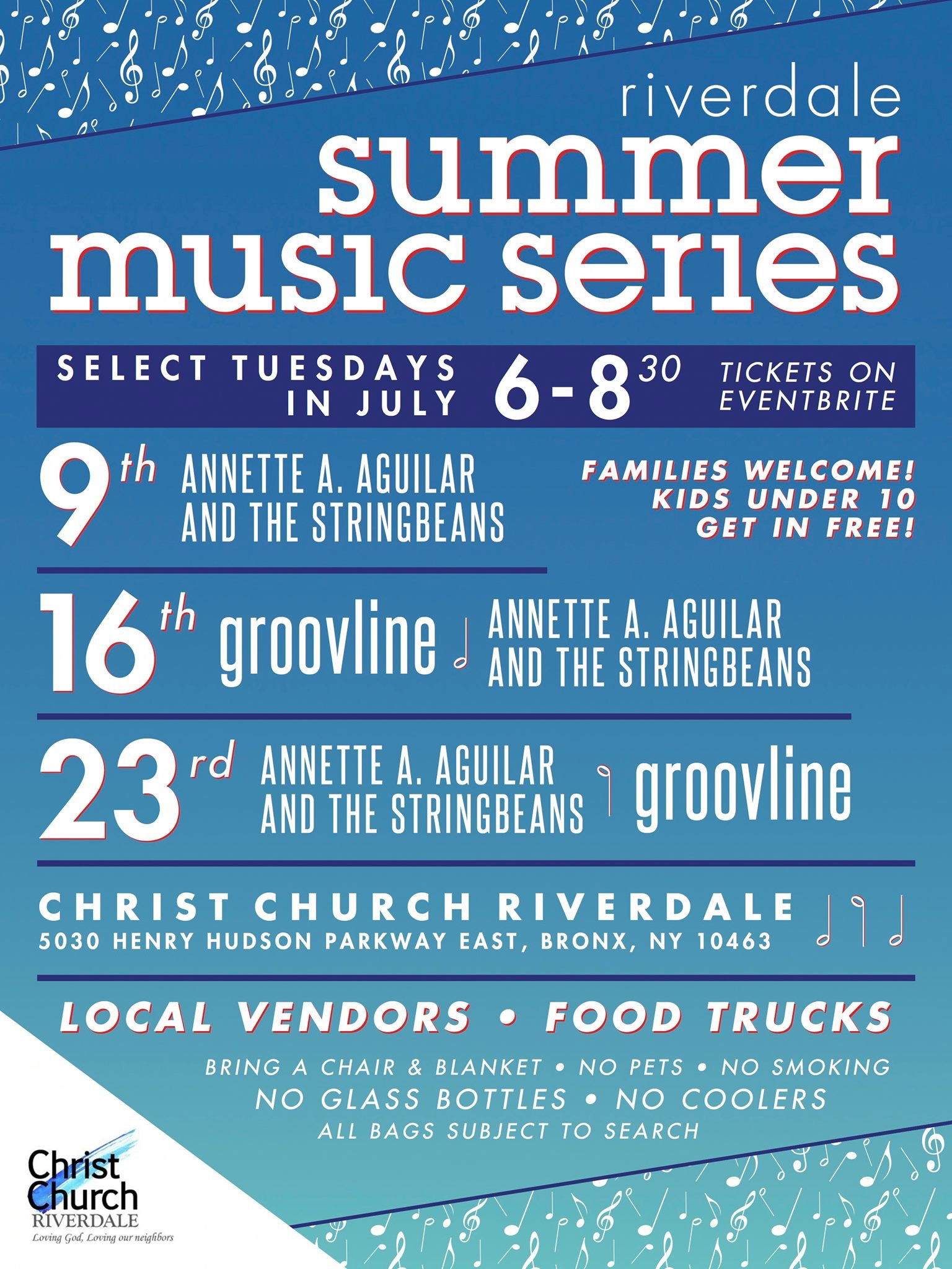 "July 9, 16 ,  23 Annette A. Aguilar String Beans played at Christ Church Riverdale ""Riverdale Summer Music Series"""