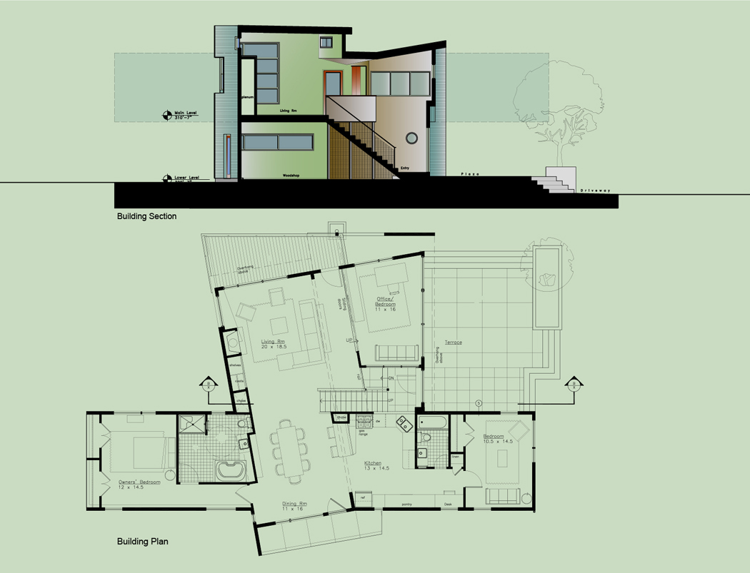 The living spaces are oriented to a convergence of site  elements - views and natural edge conditions. The house is convertible to meet potential wheelchair  requirements ramps on grade.