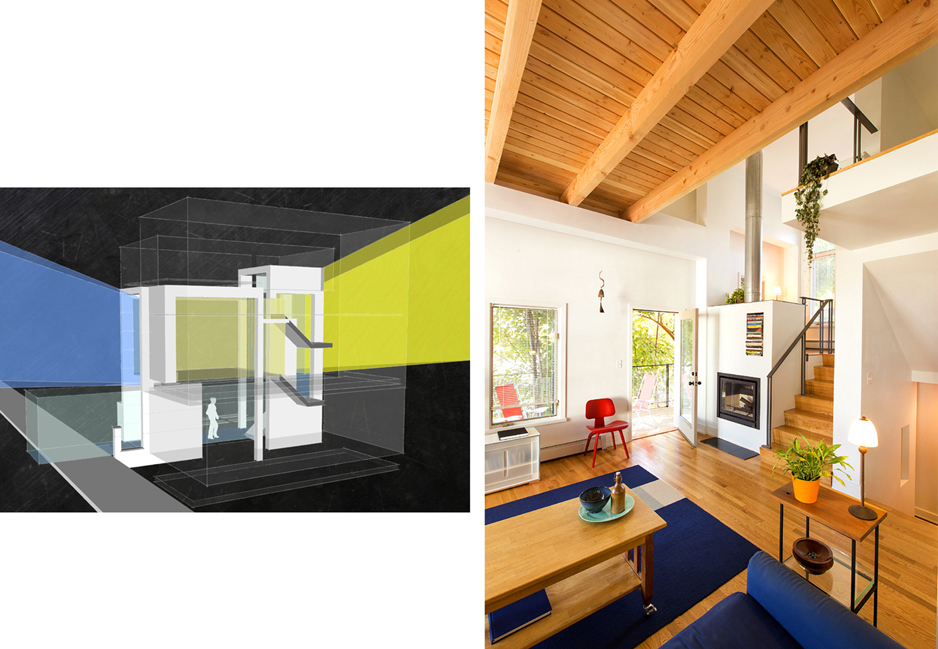 The building form, apertures and functional layout join phenomenal parameters of site. The entry sequence (green), views to the city (blue), and sunshine (yellow) all converge within a frame that defines the varied living areas.
