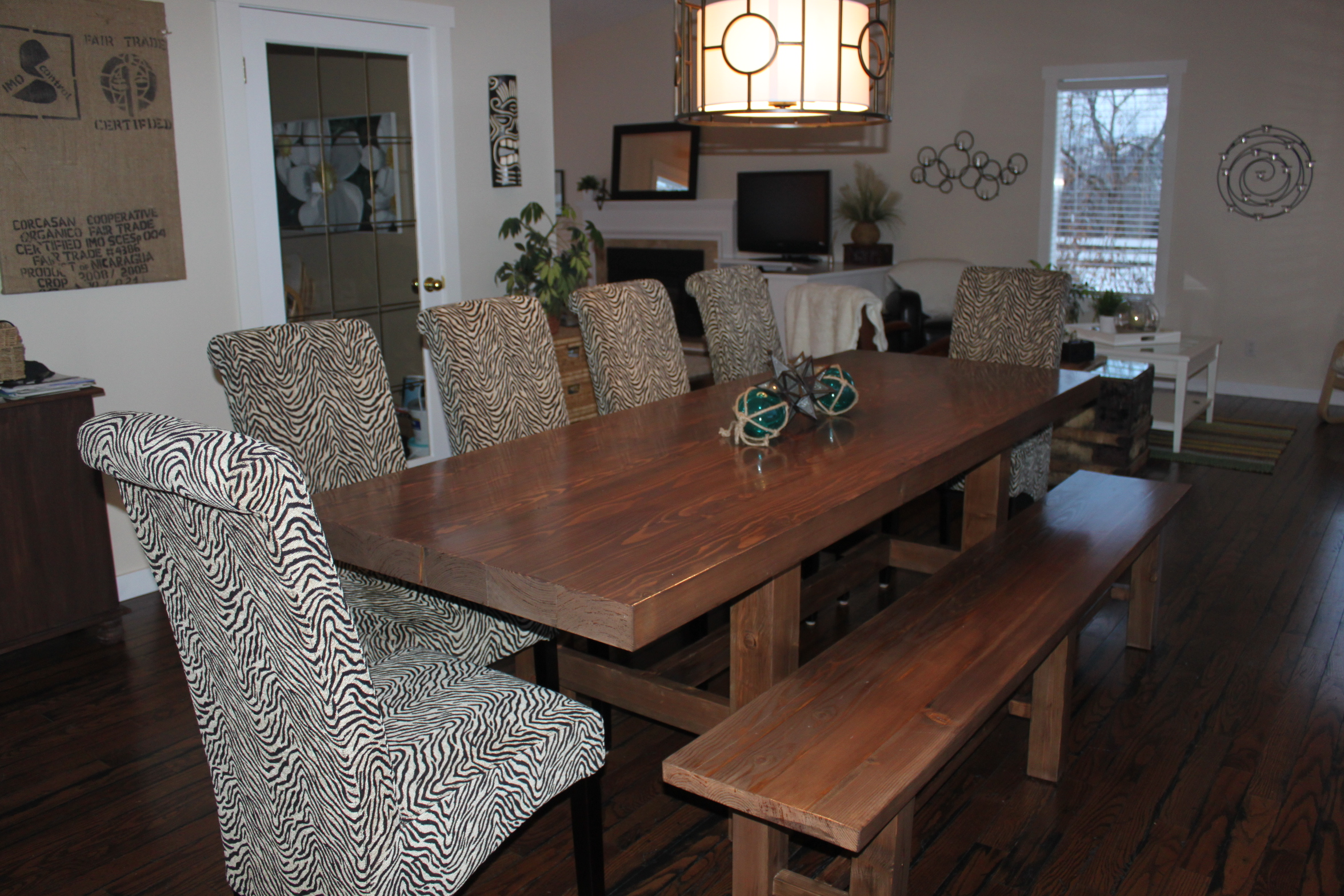 "Handmade dining room table made with RB Fir, plus RB 1x6"" Hemlock flooring, stained"