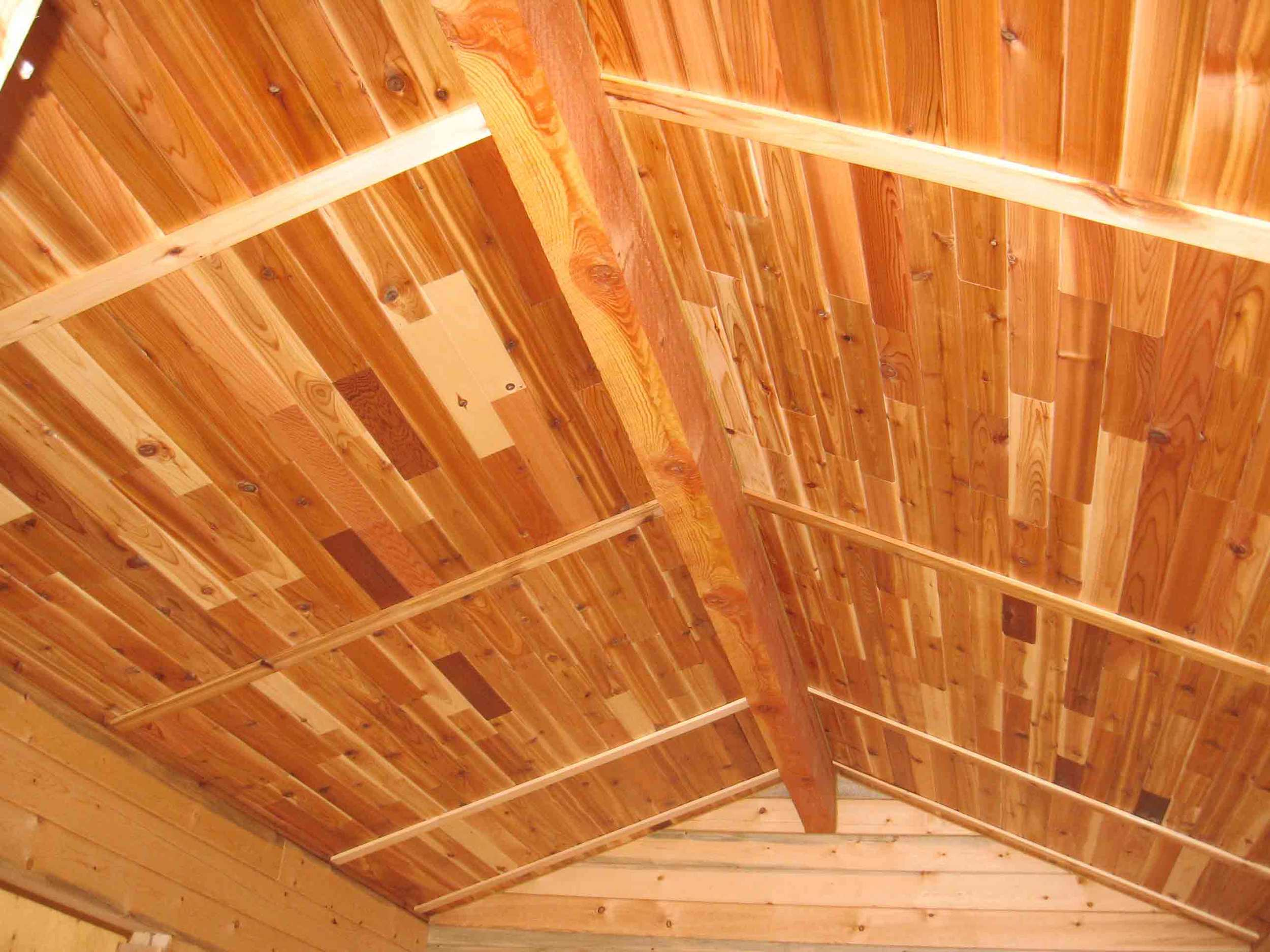 "Interior ceiling using RB 1x4"" Cedar T&G short cuts"