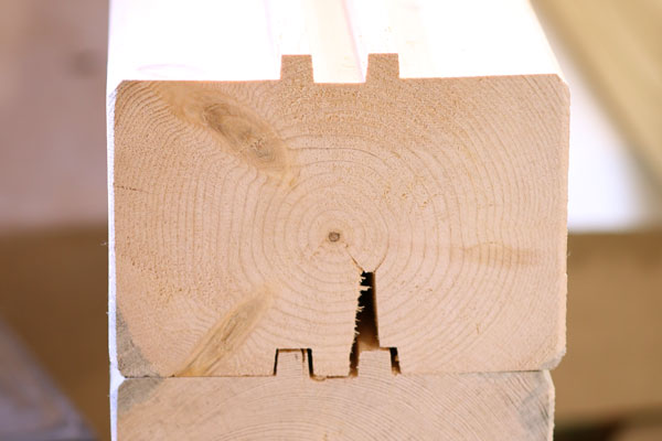 """6x8"""" T&G, Square Log Cabin Log with Kerf"""