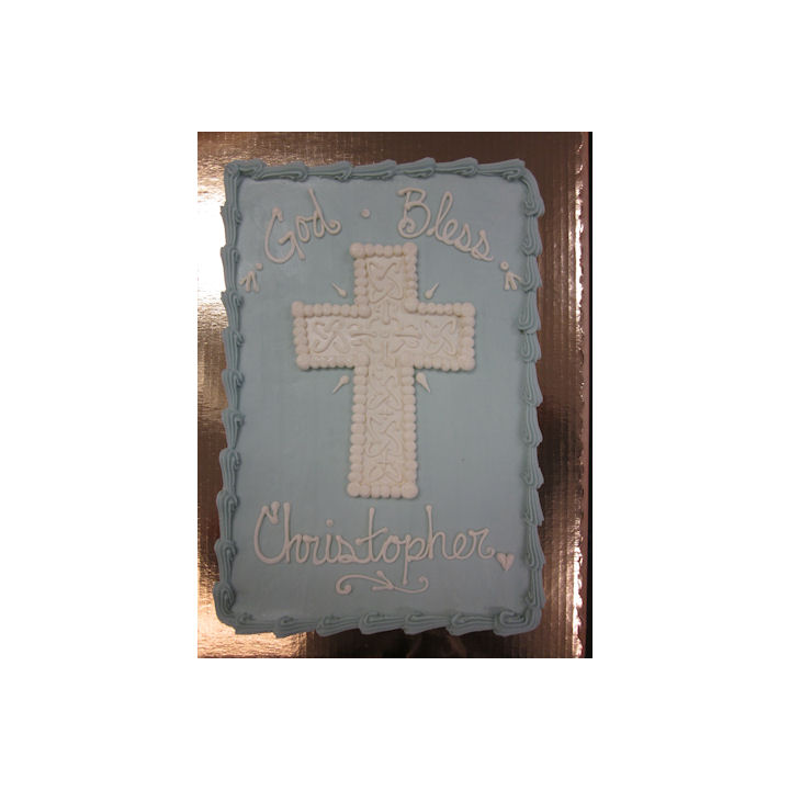 Ornate White Cross[ blue cake] 018