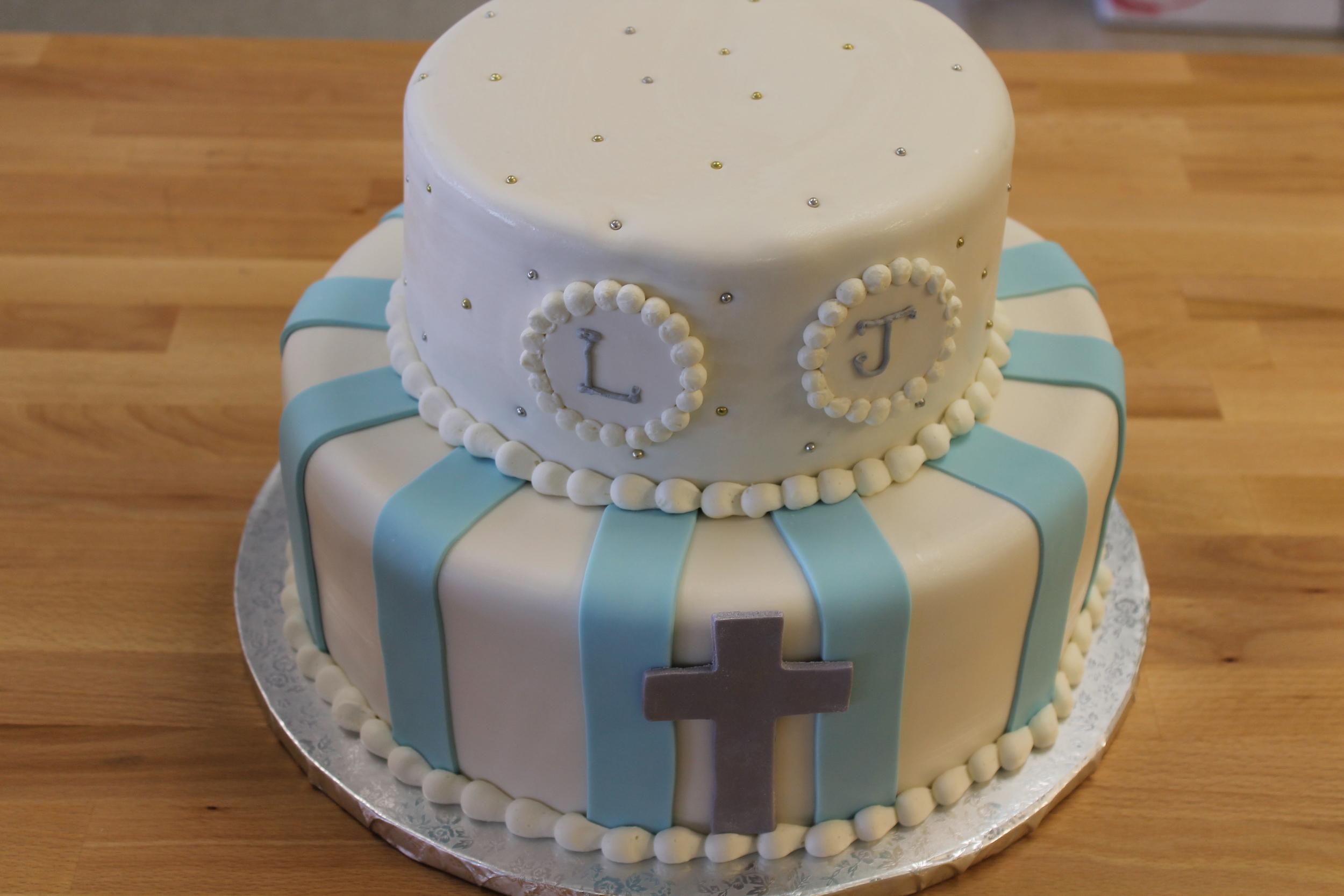 Blue and White Christening Cross 048