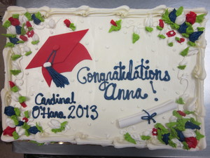 Red and Blue Graduation Cake
