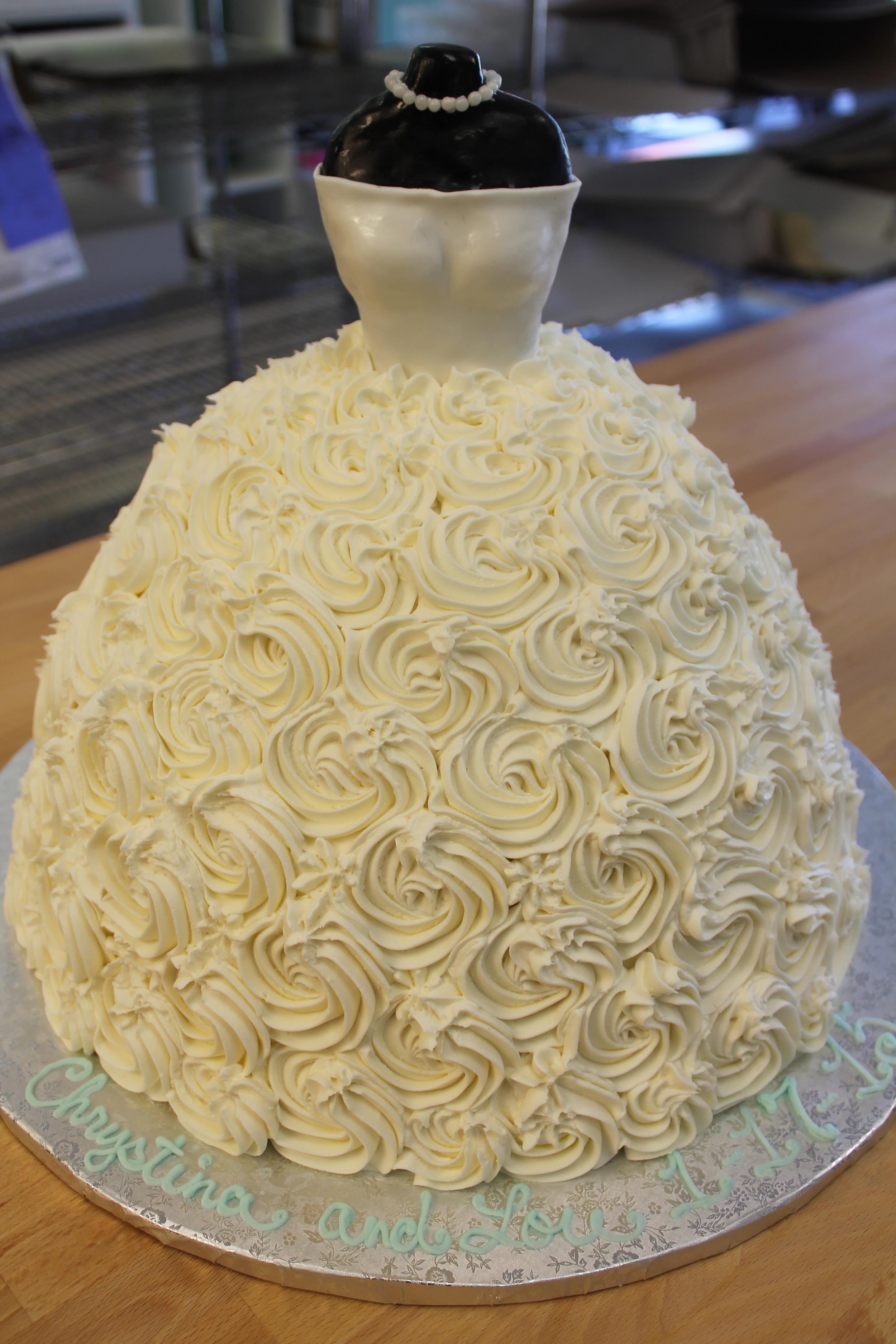 Rosette Wedding Dress Cake