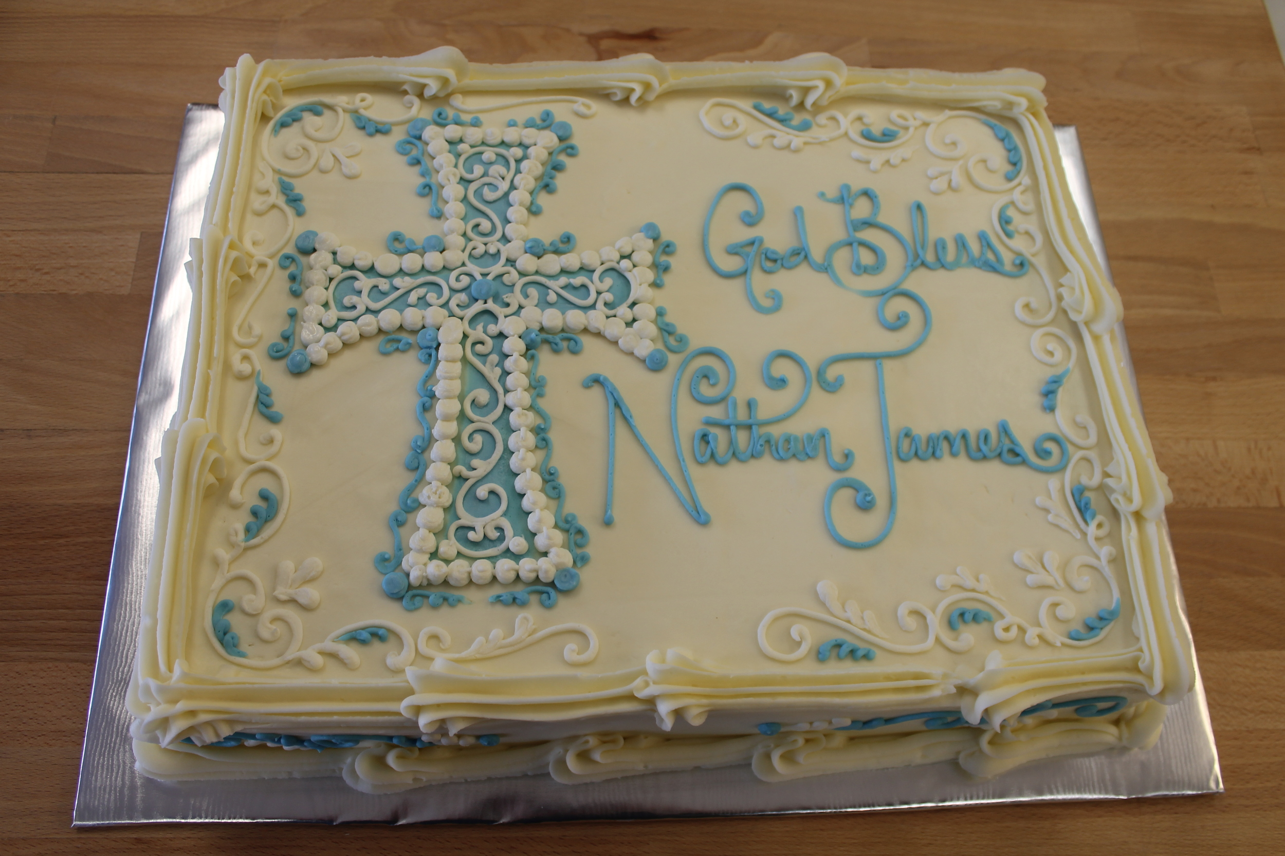 Elaborate Blue and White Cross 064