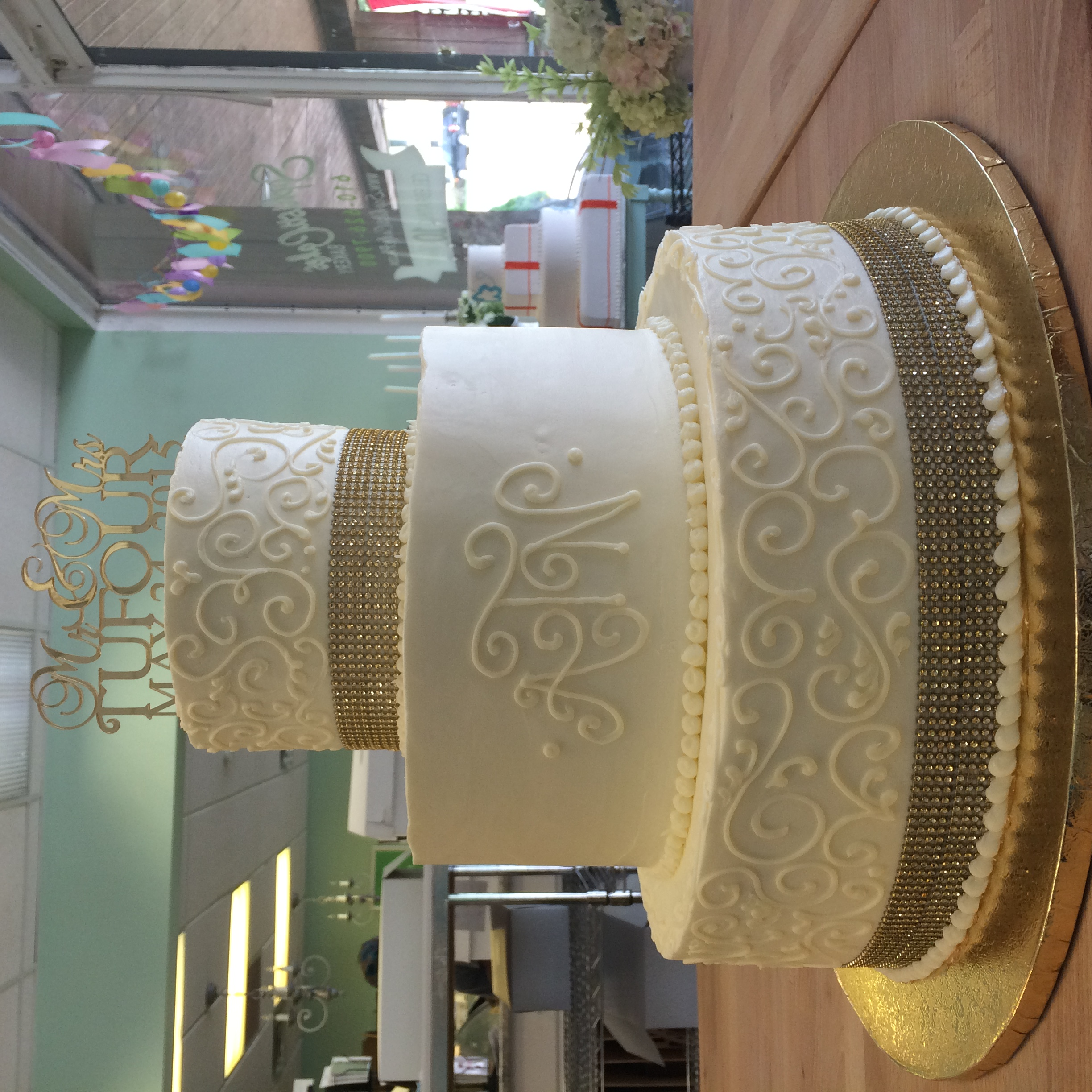 Gold Ribbon and Scroll Work Wedding Cake