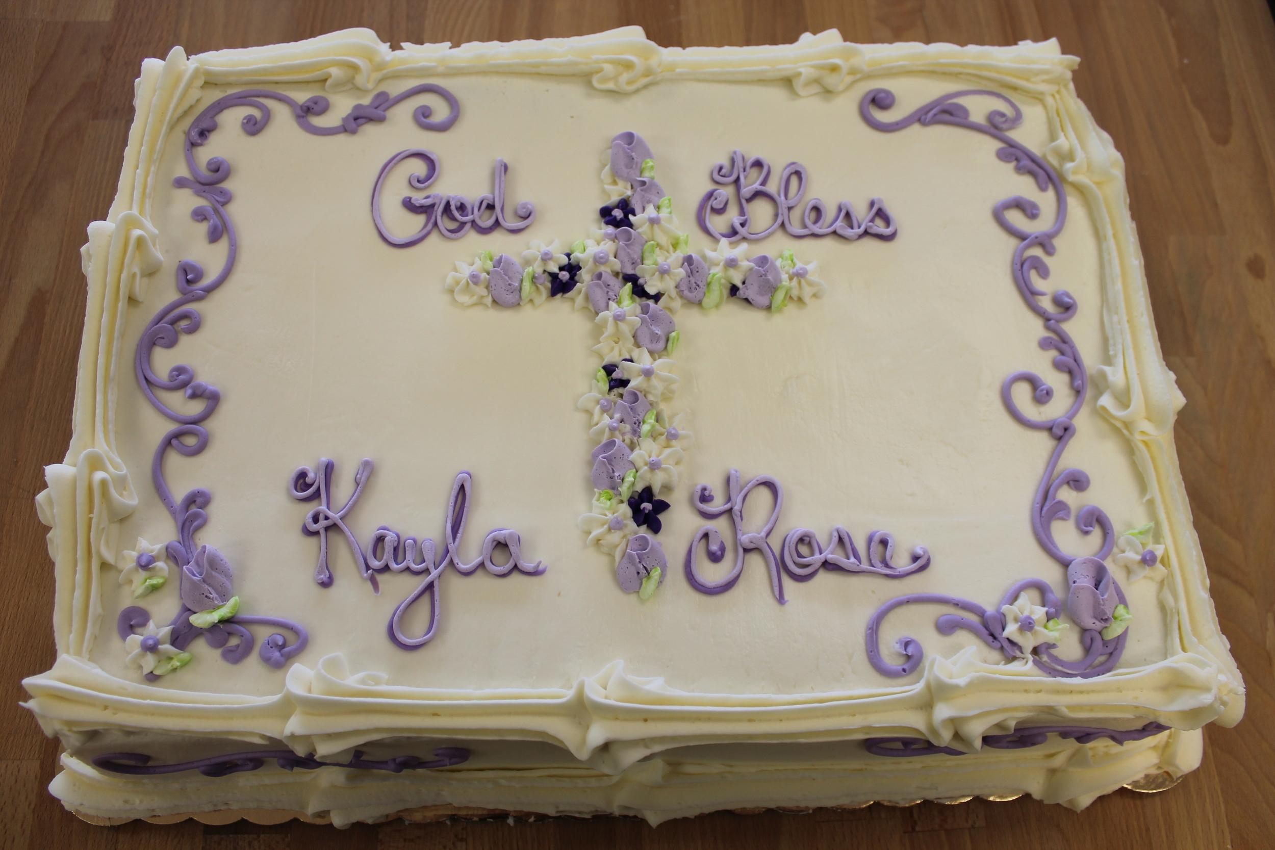 Purple Cross and Scrollwork Cake