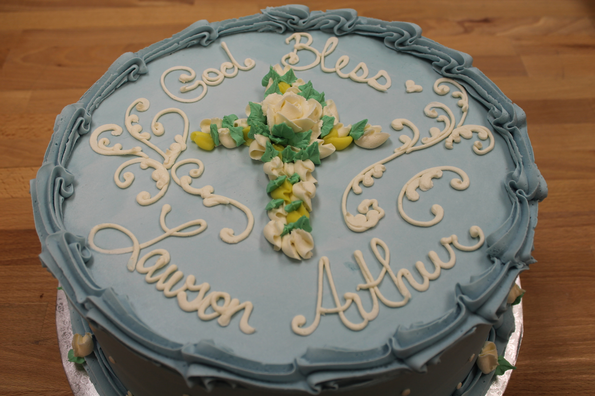 Blue with Floral Cross Cake