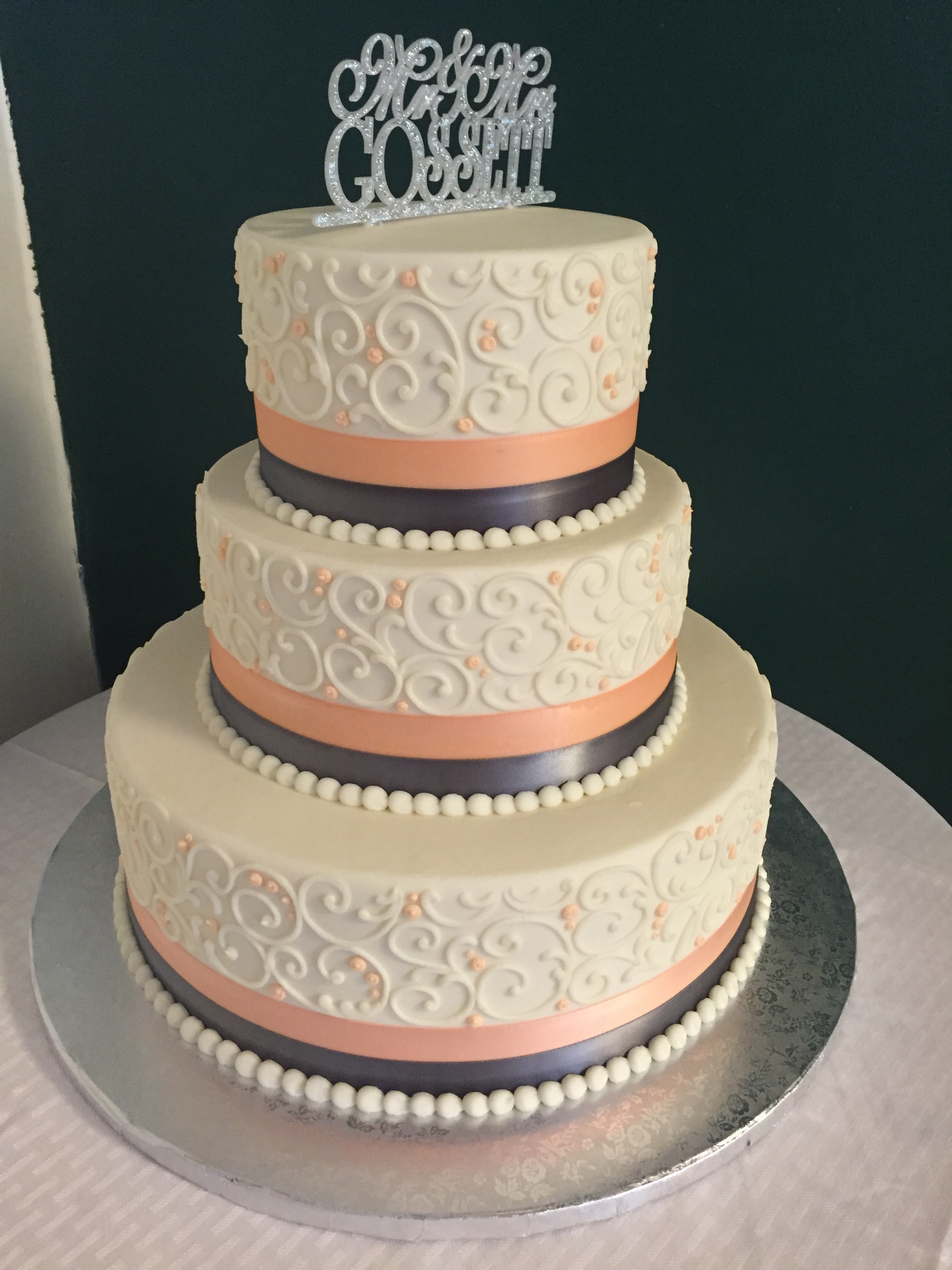 Silver and Peach Wedding Cake