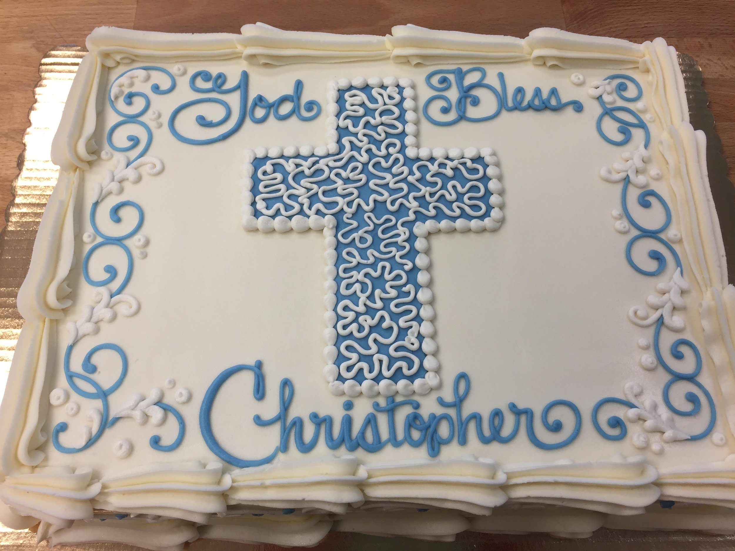 Blue and White Cross for Christopher 209
