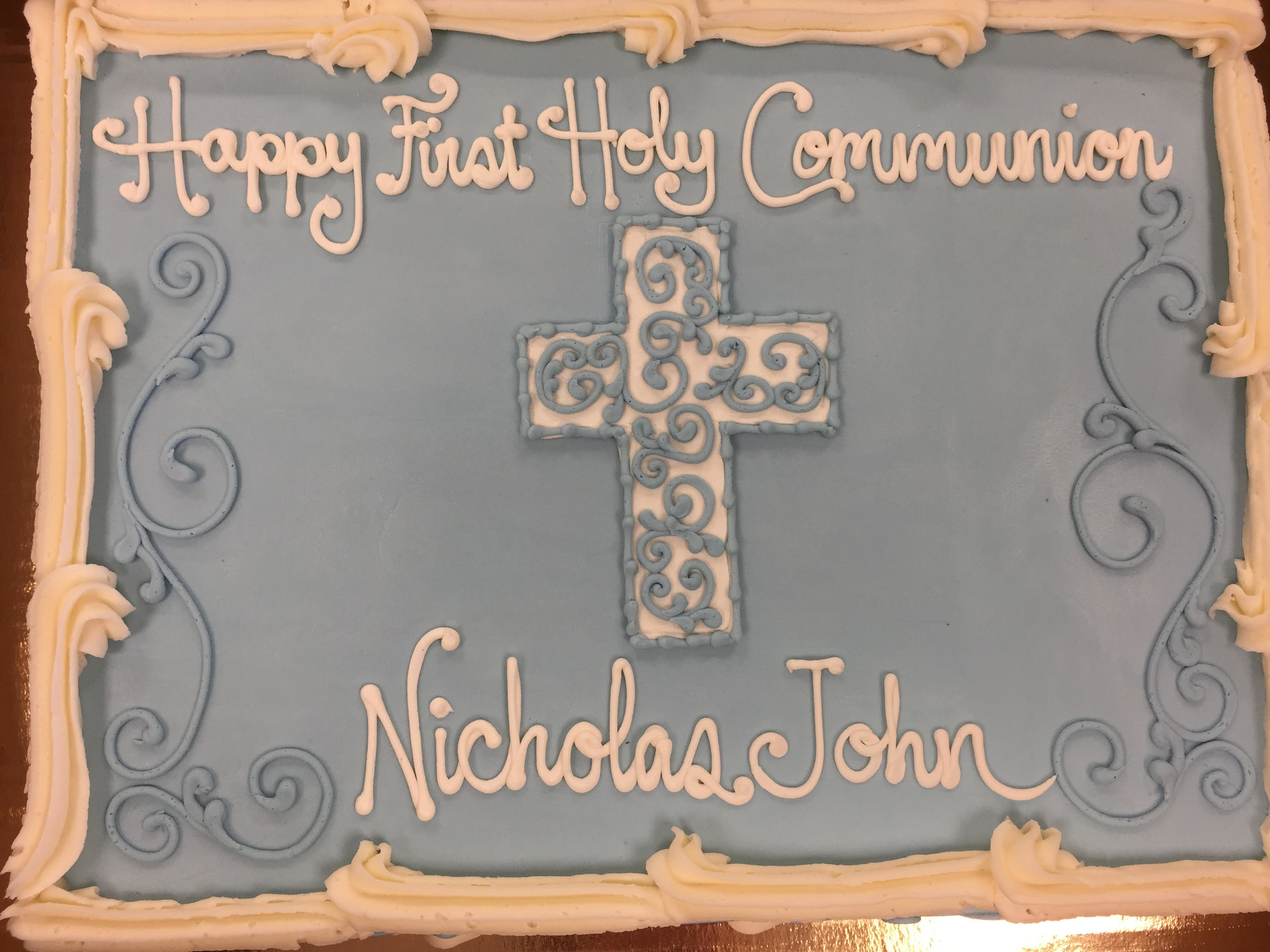 Blue scrollwork for a Holy Communion 002