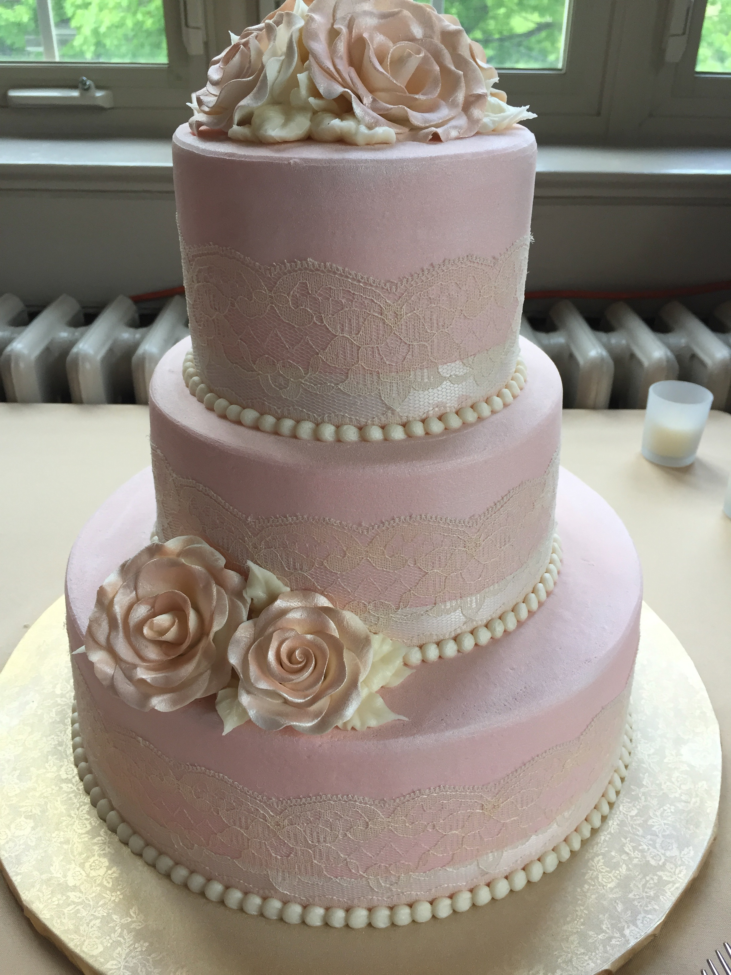 Pearlescent Pink Wedding Cake