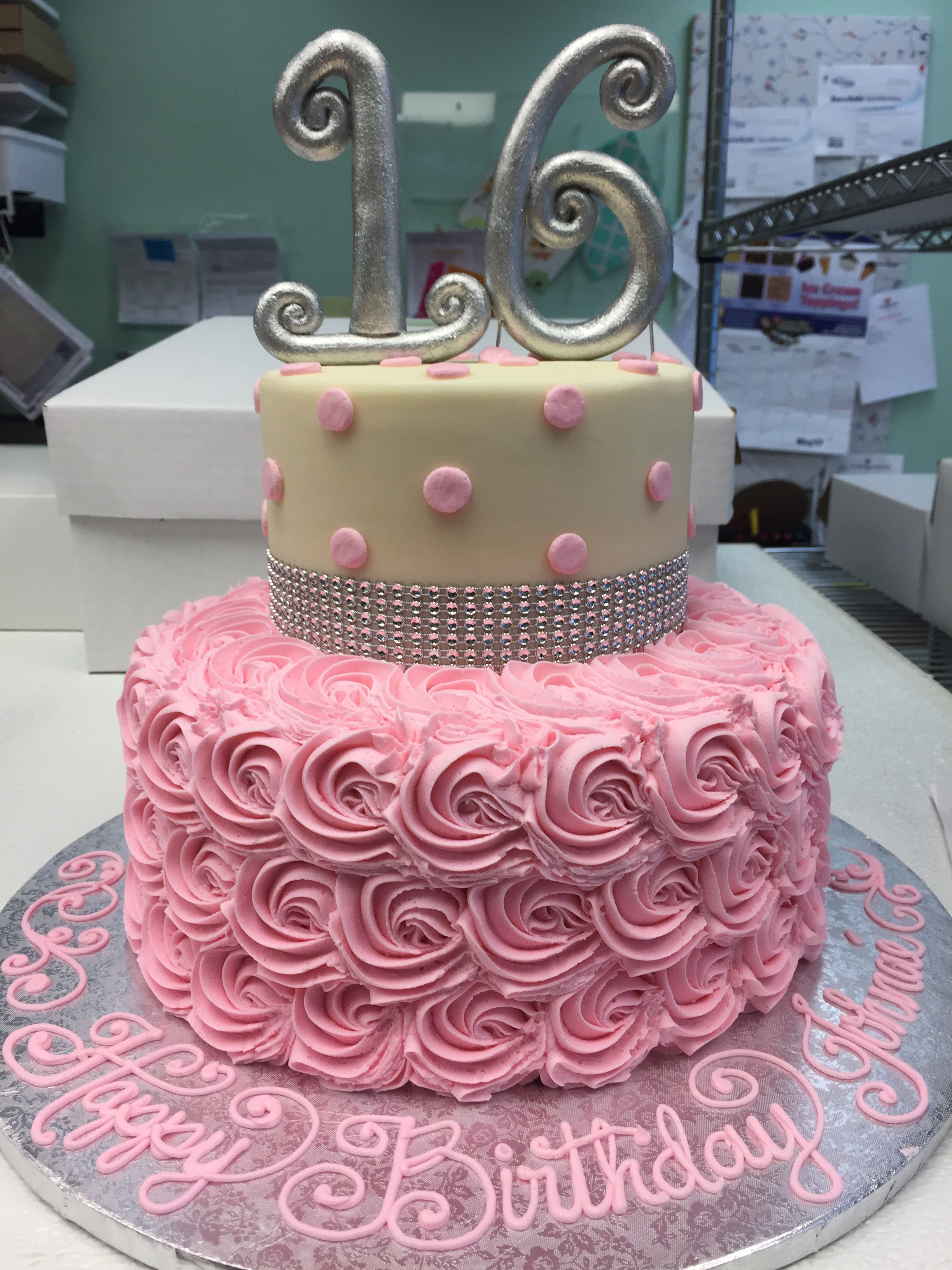 Silver 16 with Pink Rosettes