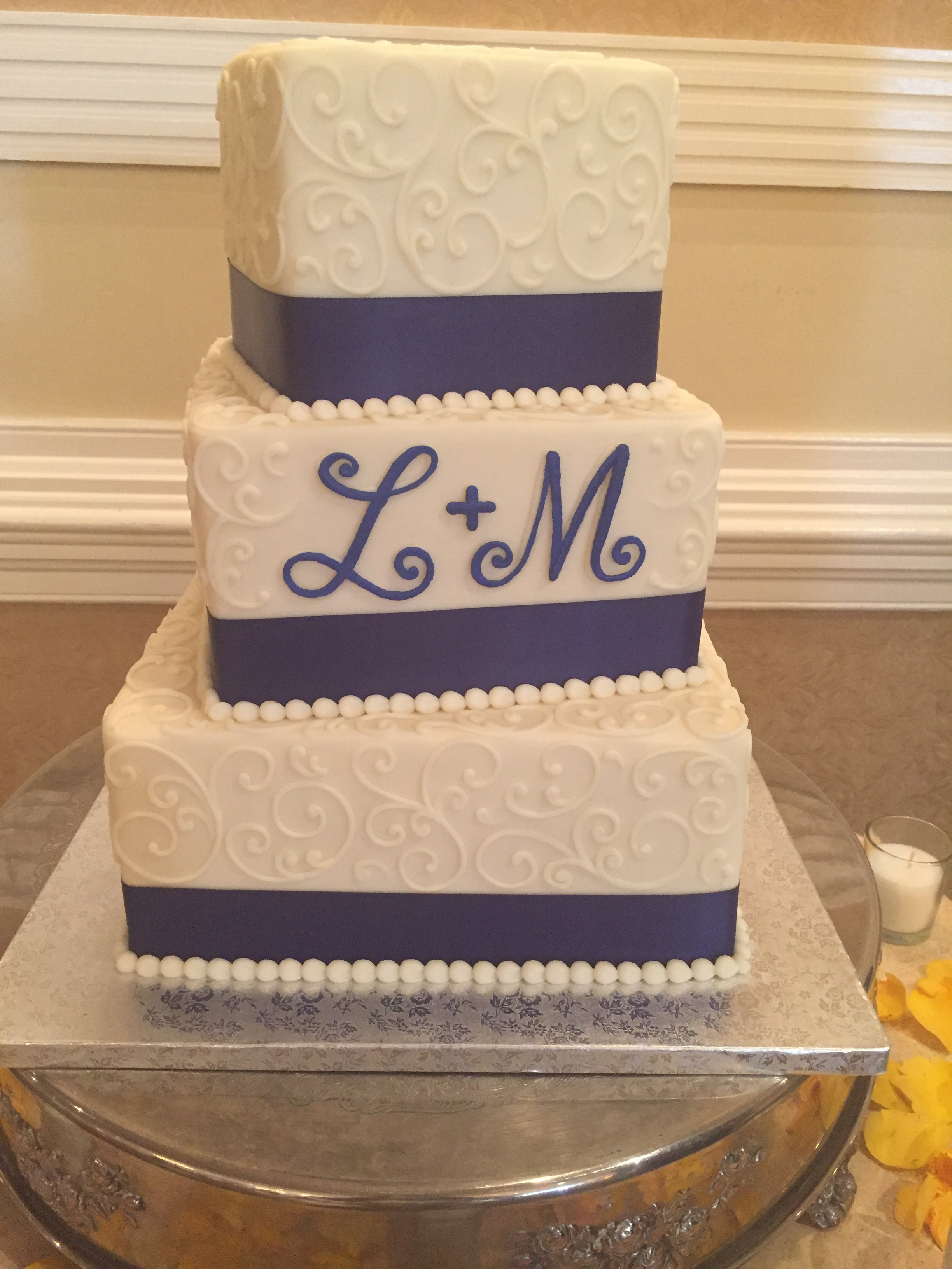 Off Set Squares with Initials Wedding cake