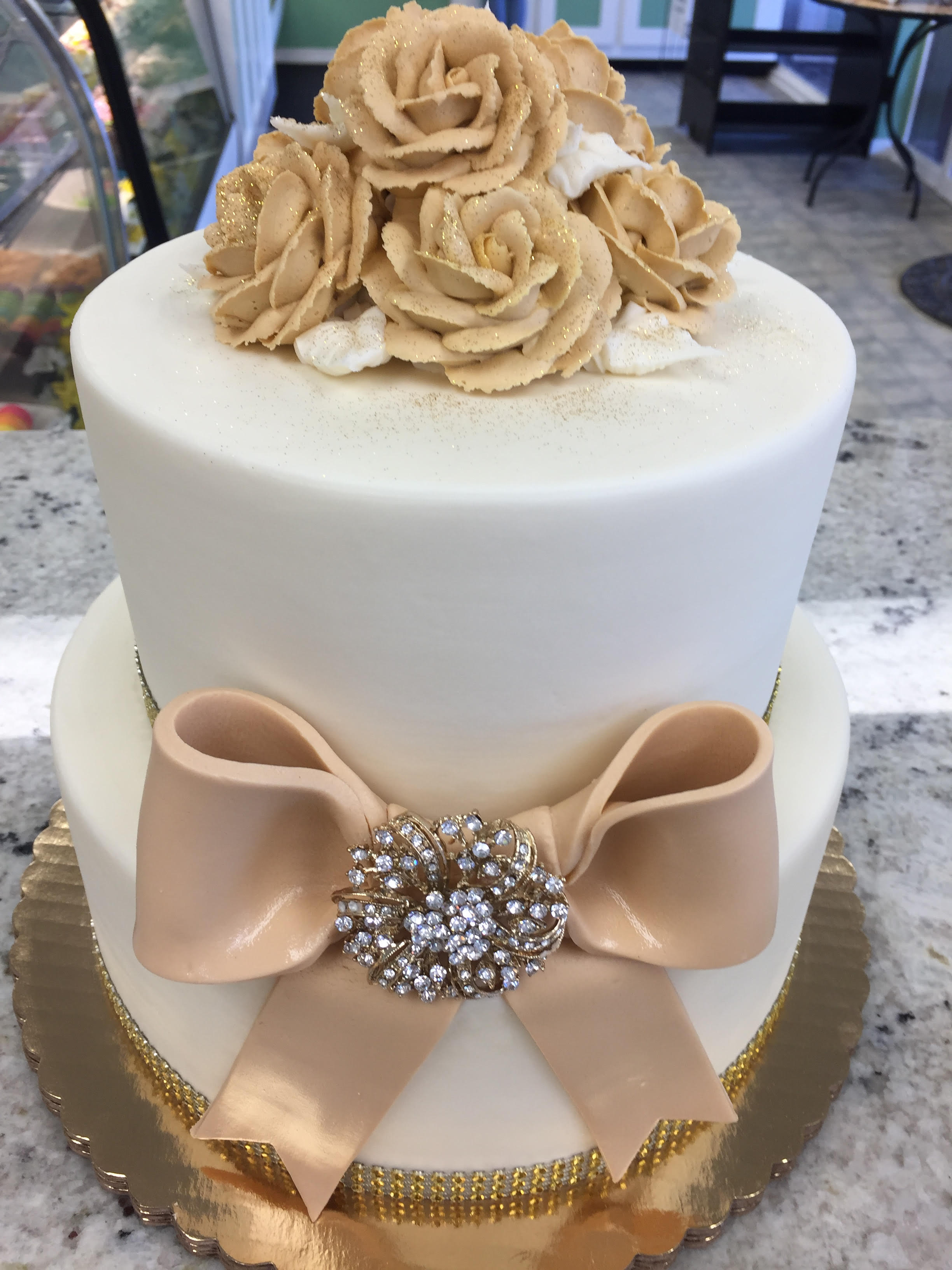 Champagne Ribbon and Roses