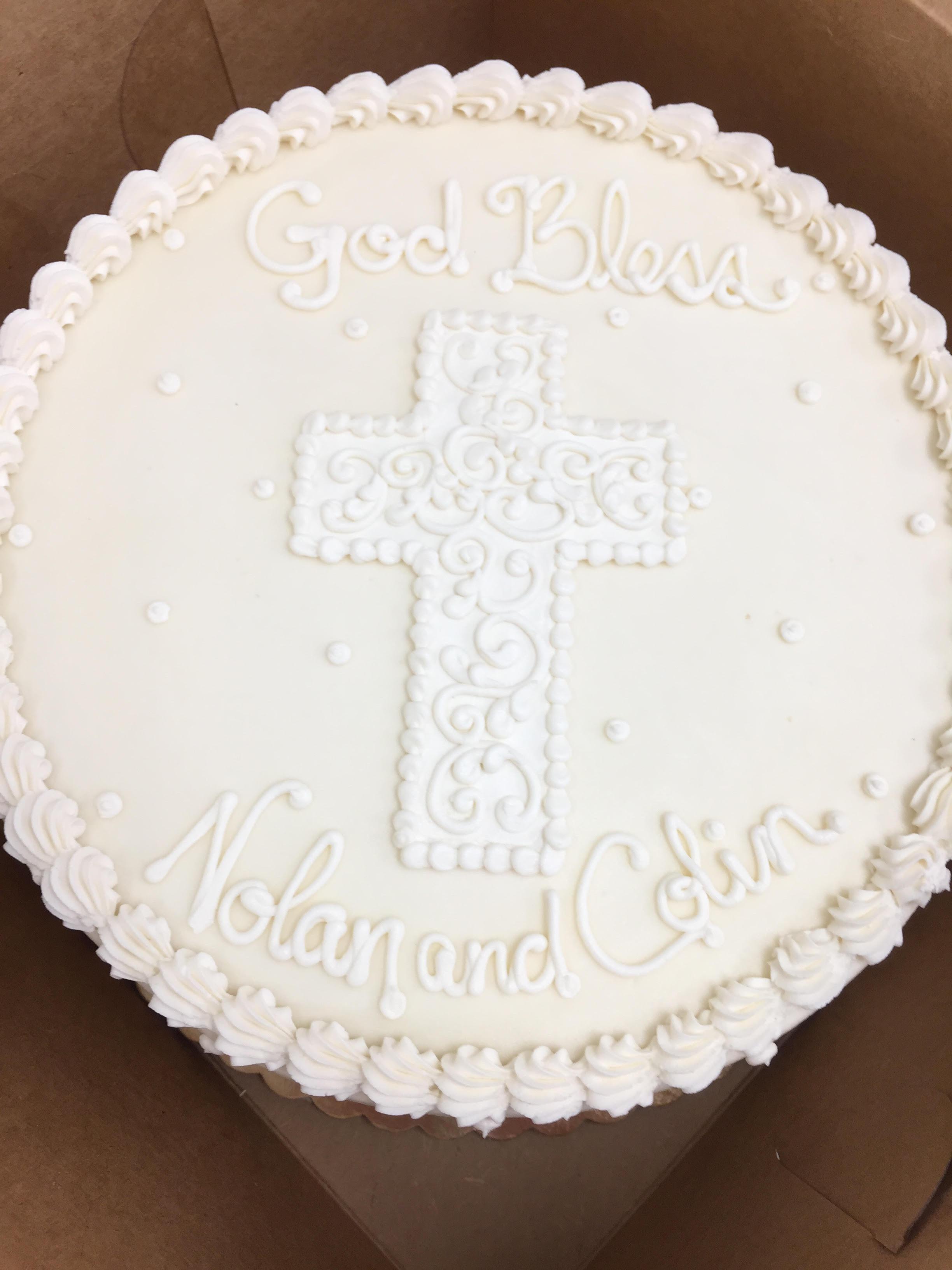 White and White Christening Cake