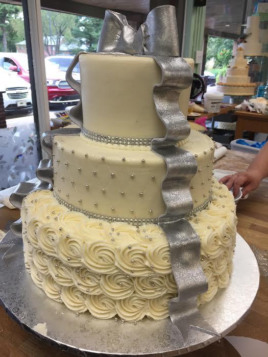 Metallic Silver Bow and Ribbon Birthday Cake