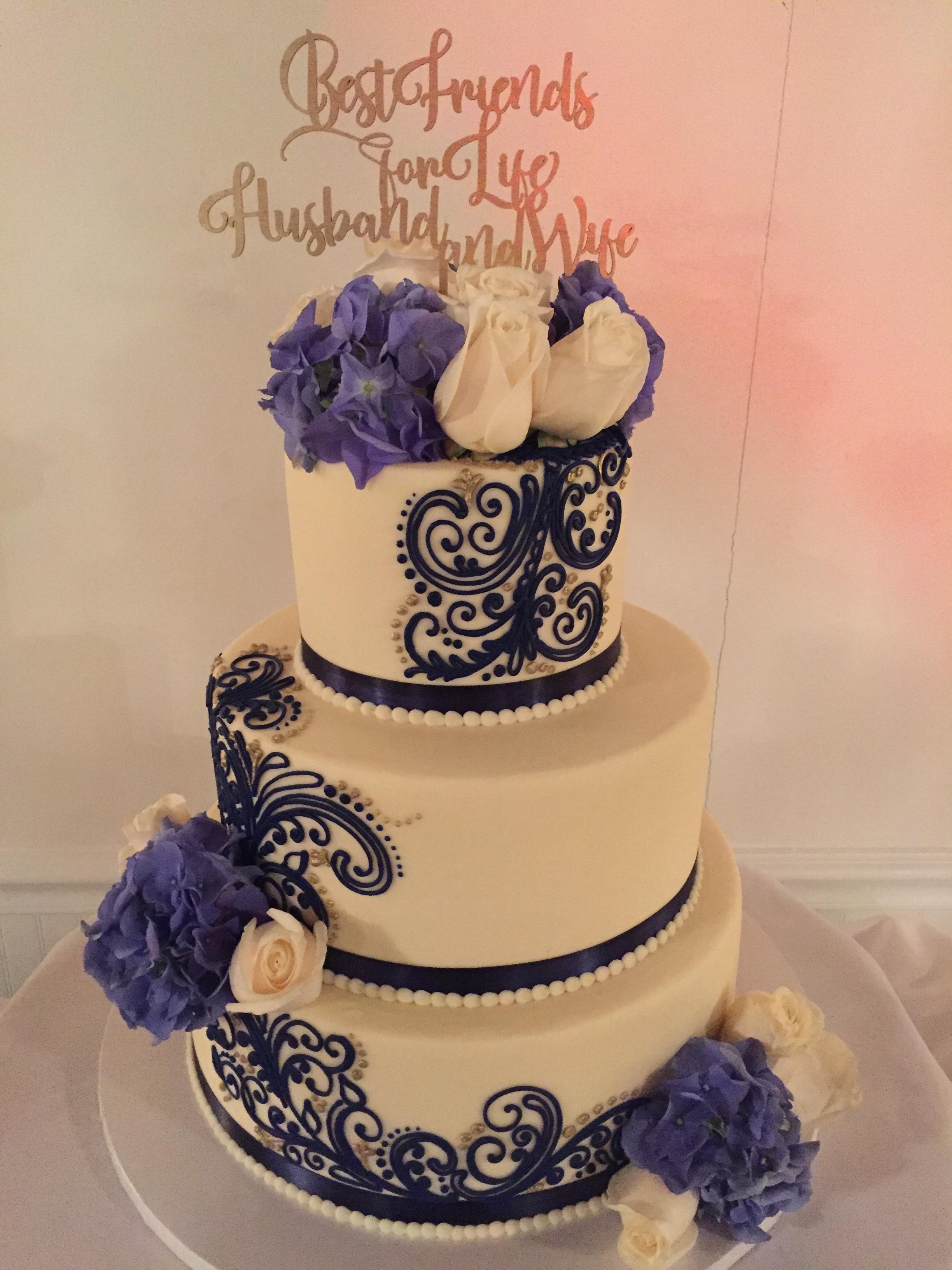 40th Wedding Anniversary Celebration Cake