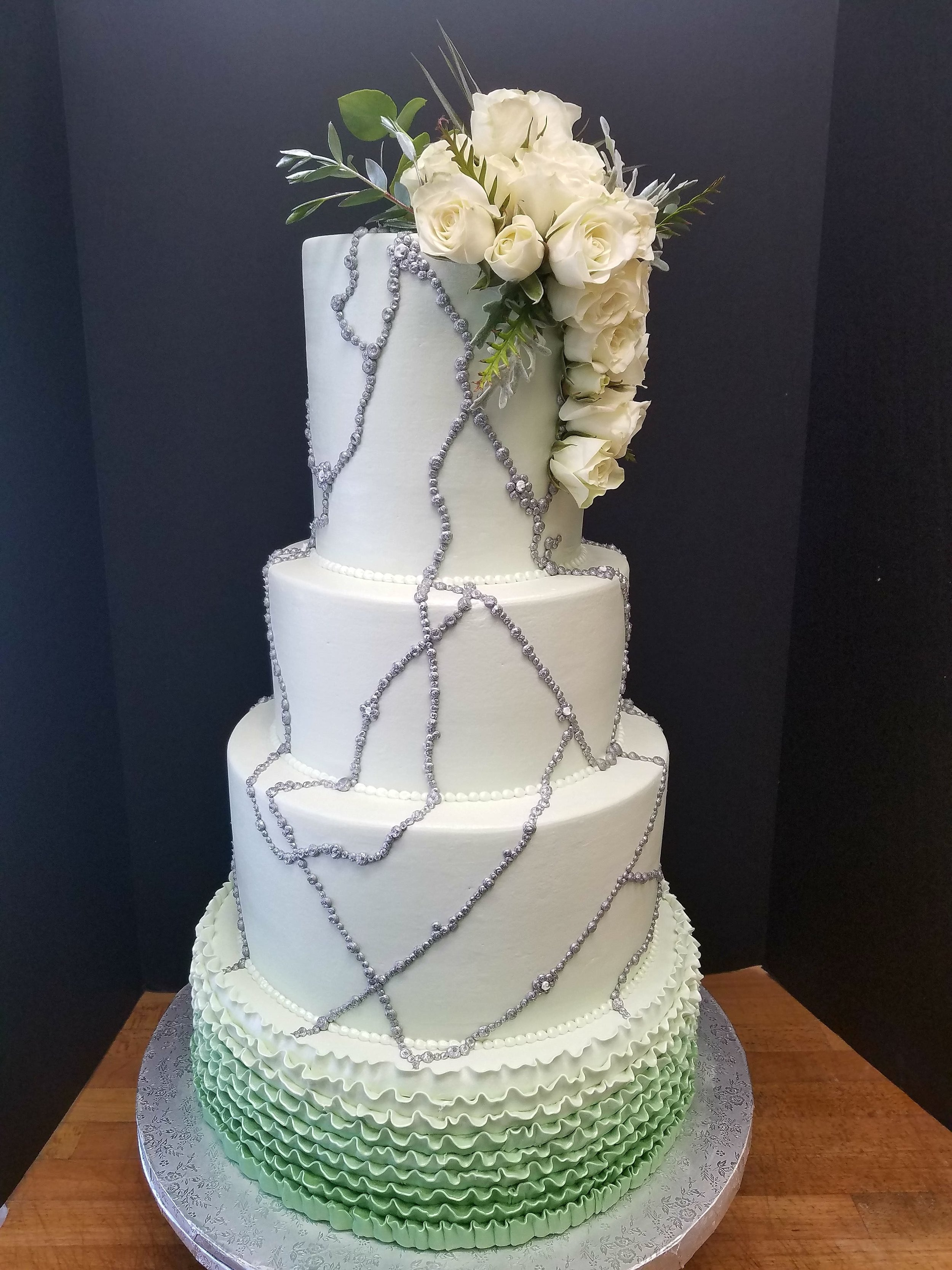 Ombre Green with Ruffles Wedding Cake