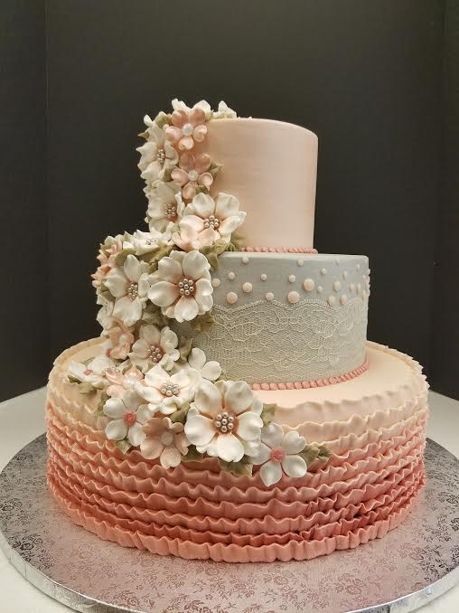 Pinks and Gray with Ruffles and Flowers