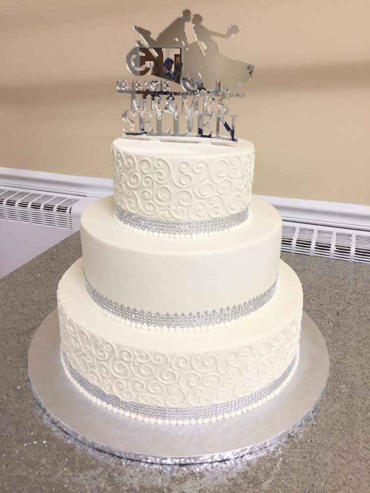 Silver and Scrollwork Wedding Cake