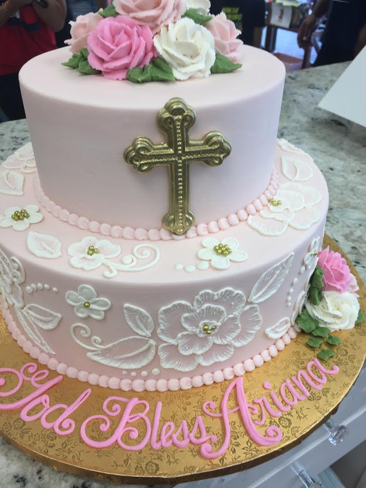 Gold Cross and White Flowers for a Christening