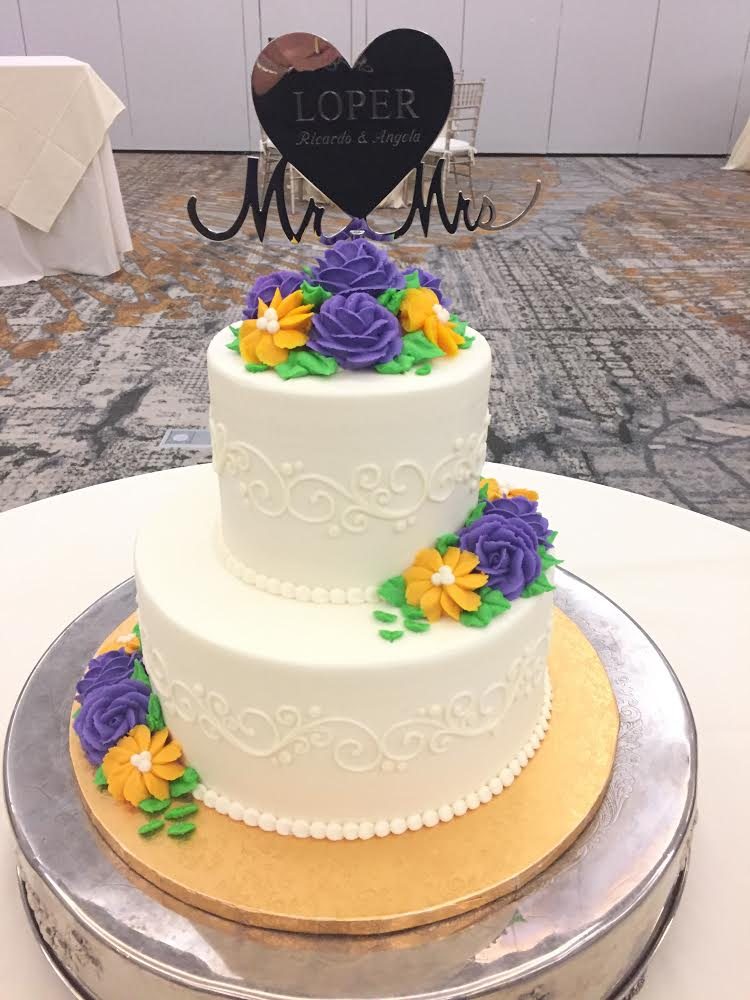 Lavender and Yellow Butter Cream Flowers