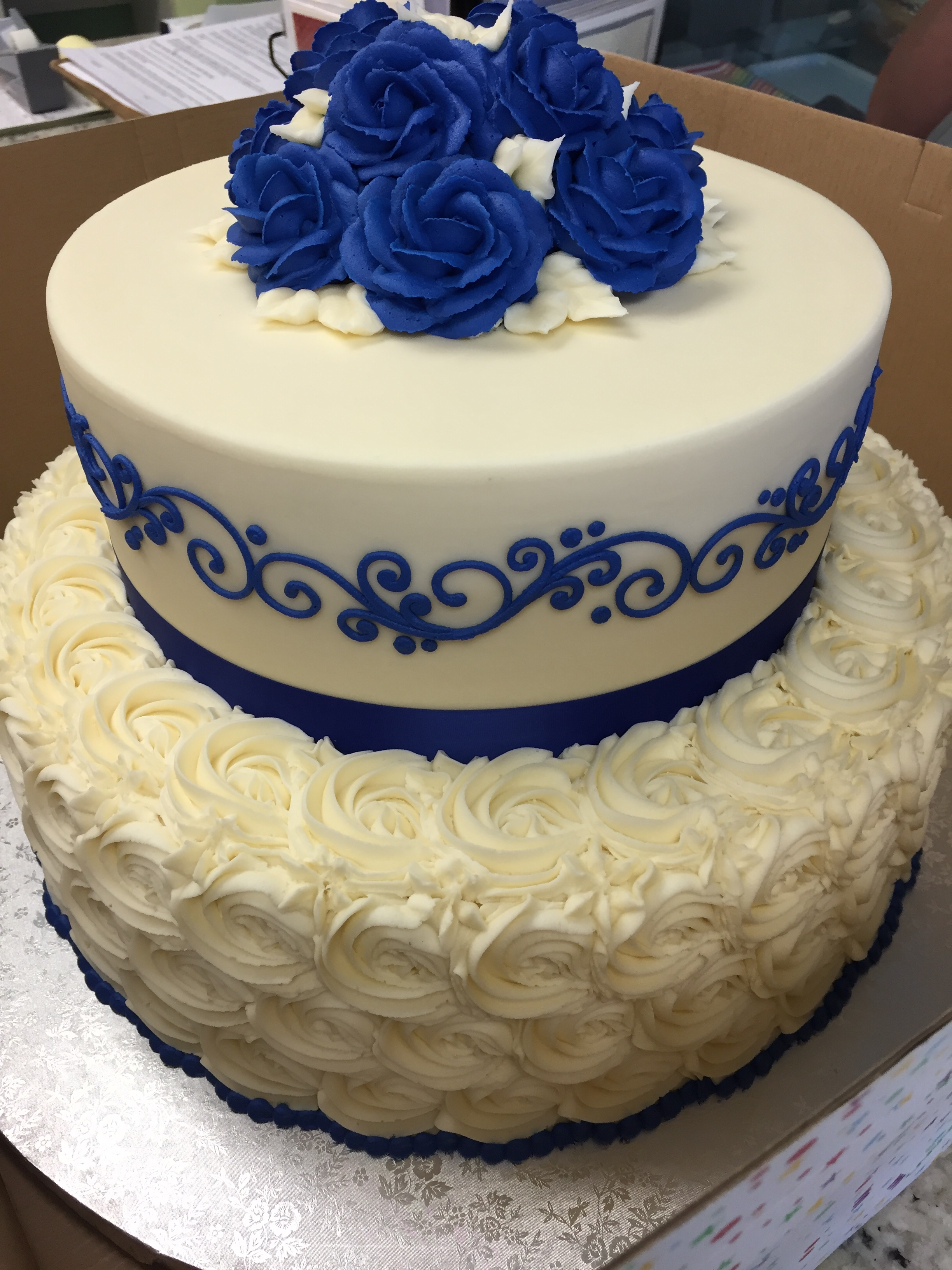 Blue Butter Cream Roses for the Bride to Be