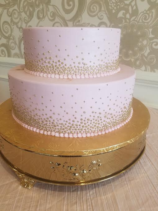 Pink with Gold Dots Bridal Shower Cake