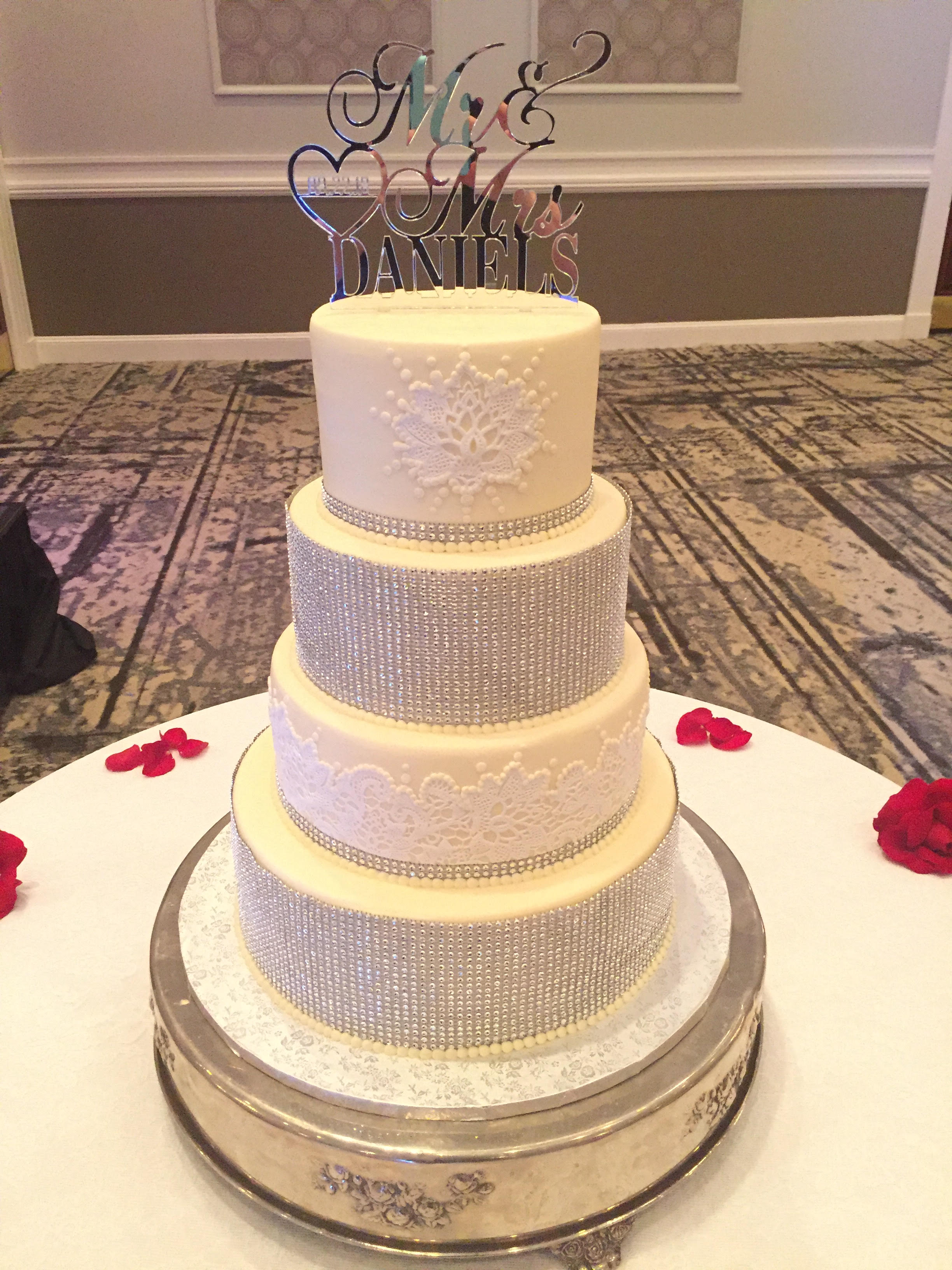 Lace and Bling Ribbon Wedding Cake