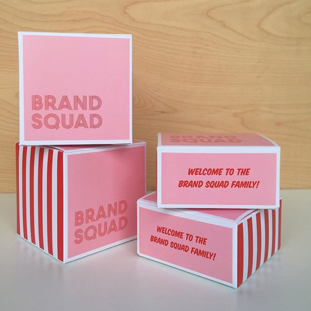 "🍒Welcome boxes🍒in two sizes. Pink + red forever a winner. #giftbetter #brandedpackaging 🎙Larger box is 4""x4""x4"". Fits small snacks, a candle,and a cupcake. The smaller one, measures 4""x4""x2""- fits 8 macarons, snacks, post its and pens, and really, anything you can think about."