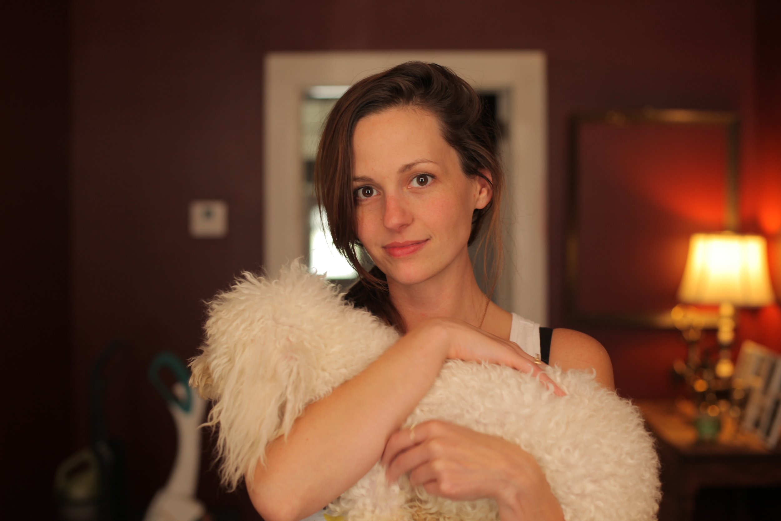 This is what I look like when photographed by a professional in perfect light while I'm a little bit buzzed and holding a dog.