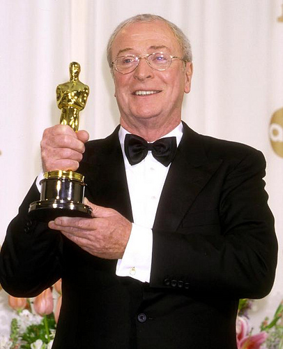 Michael Caine, seen here holding a lesser prize.