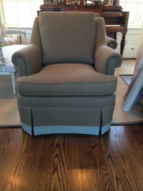 After: Club chair with a longer skirt and banding.
